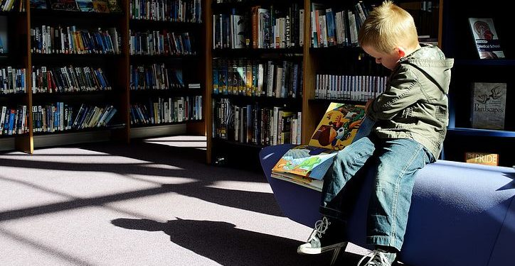 Boy in Primrose Hill Library